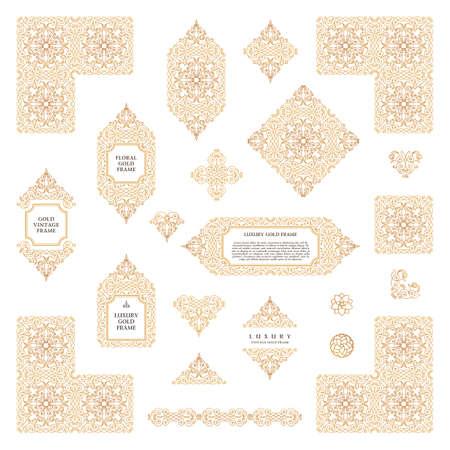 Arabic set of frames and lines of art design template. Muslim gold outline elements and emblems. Eastern floral frame. line pattern for menu, postcard, restaurant, wedding invitation