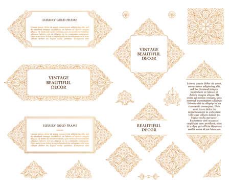 arabesque pattern: Arabic set of frames and lines of art design template. Muslim gold outline elements and emblems. Eastern floral frame. line pattern for menu, postcard, restaurant, wedding invitation Illustration
