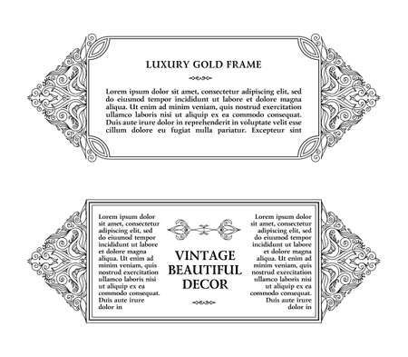 arch: Eastern gold frame arabic lines design templates. Muslim Eastern floral frame for card and postcard Eid al-Adha. Ramadan linear decor for message, menu, postcard, restaurant, wedding invitation Illustration