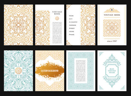 invitation frame: Eastern gold template cards set. Vintage golden decor in muslim style. Template floral frame for menu greeting card, wedding invitation, certificate, poster. border with place for text. Illustration