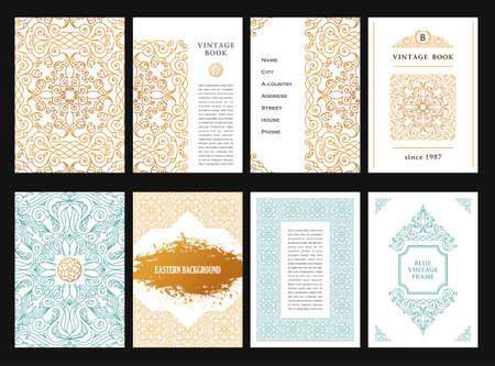 plantilla tarjetas de oro del este conjunto. la decoración de oro de la vendimia en estilo musulmán. Marco floral de la plantilla para la tarjeta del menú de felicitación, invitaciones de boda, certificado, cartel. frontera con el lugar de texto.