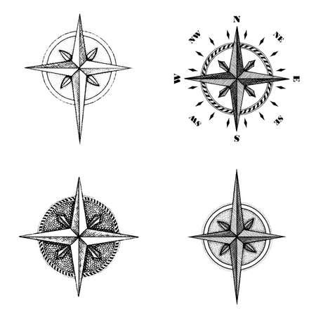 hand illustration: Hand drawn compass wind rose symbol. Vector traveller tool. Vintage illustration