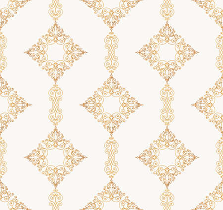 tracery: Vector seamless pattern with art ornament. Vintage elements for design in Victorian style. Ornamental lace tracery background. Ornate floral decor for wallpaper. Endless eastern texture Illustration