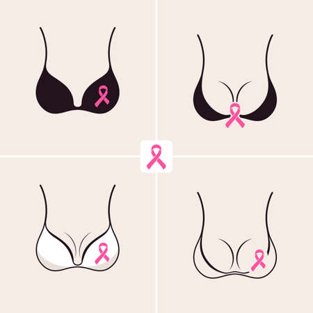 Breast Cancer October set. Female bra. Information campaign. Woman body silhouette and text with pink ribbon element on a white background.