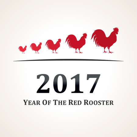bird illustration: red rooster the symbol of 2017. The emblem of the New Year according to the Chinese calendar.