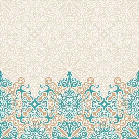 Seamless border vector ornate in Eastern style. Islam pattern. Vintage design, place for text. Ornament pattern for wedding invitations, birthday, greeting cards. Traditional pastel decor blue and gold Illustration