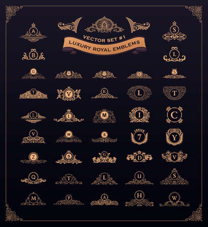 Luxury royal set. Crest, crown, emblem, heraldic monogram. Vintage royal flourishes elements. Calligraphic floral sign. Gold letters in frames. Design luxury set. Vector antique flourishes emblems
