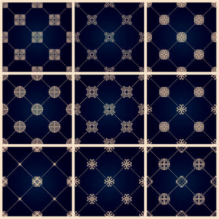grace: Seamless islamic pattern set. Vintage tile background. Vector islamic royal black pattern. Oriental design and baroque wallpaper Illustration