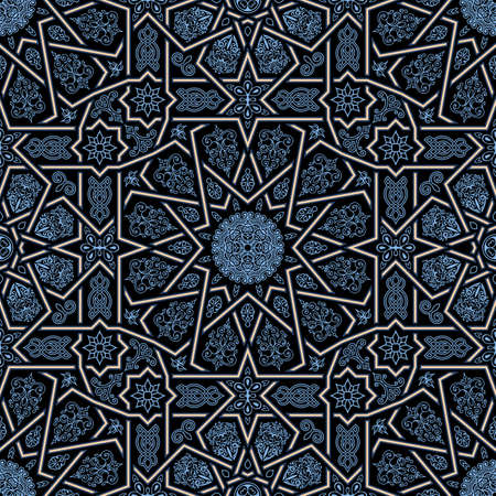 Seamless islamic Moroccan pattern. Arabic geometric ornament. Geometric tiled texture. Vintage repeating background. Vector islam royal pattern. Oriental design and Moroccan wallpaper