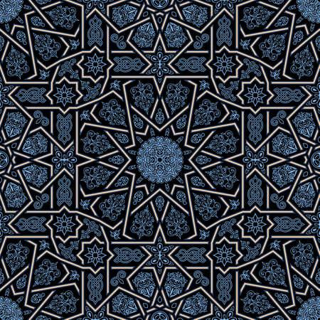 Sin fisuras patrón islámico marroquí. Adorno geométrico árabe. Textura geométrica de azulejos. Vintage fondo de repetición. Vector islam royal pattern. Diseño oriental y papel pintado marroquí