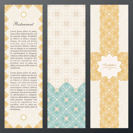 Islam vintage luxury cards. Vector set of ornate labels vertical cards in ethnic design. Gold labels with place for text. Eastern floral frame pattern. Template vintage frame for greeting card