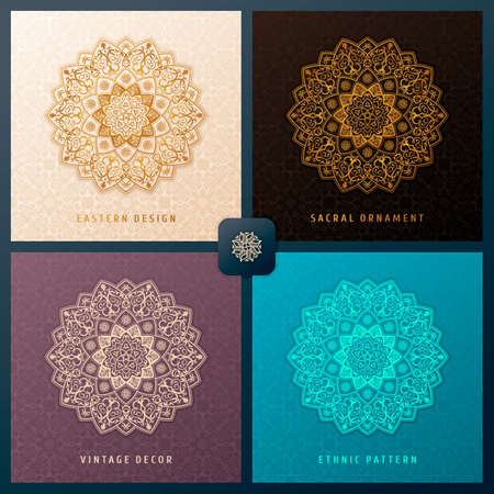 woven label: Ethnic vector pattern mandala set design for invitations, cards, labels. Round and label template. Luxury floral woven pattern. Oriental ornament in boho style. Islamic background Illustration