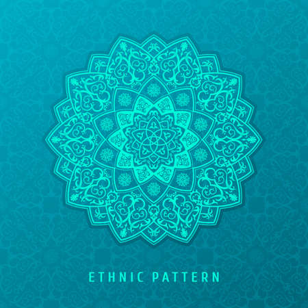 woven label: Ethnic vector pattern mandala design for invitations, cards, labels. Round and label template. Luxury floral woven pattern. Oriental ornament in boho style. Islamic background Illustration
