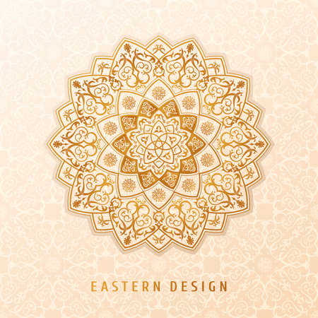 Ethnic vector pattern mandala design for invitations, cards, labels. Round and label template. Luxury floral woven pattern. Oriental ornament in boho style. Islamic background Illustration