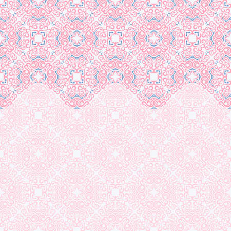 Seamless border vector ornate in Eastern style. Islam pattern. Vintage background design, place for text. Ornament pattern for wedding invitations, birthday, greeting cards. Traditional pink and blue decor