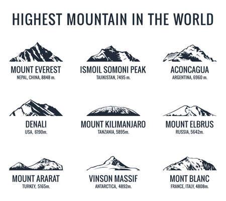 Conjunto de vector turístico de montaña. Adventures Icon montaje. La montaña más alta del mundo. Everest y Ismoil Pico Somoni, Aconcagua, Denali, McKinley, Kilimanjaro, Elbrus, Ararat, Macizo Vinson, Mont Blanc Foto de archivo - 68965551