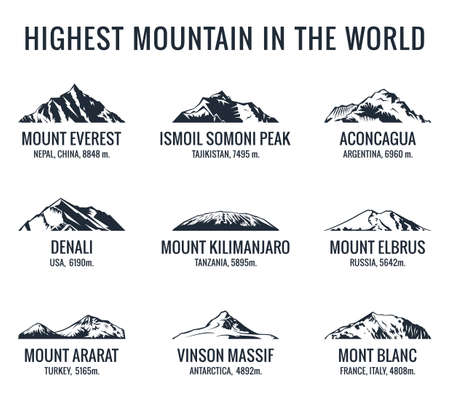 Mountain tourist vector set. Adventures Icon mount. Highest mountain in world. Everest and Ismoil Somoni Peak, Aconcagua, Denali, McKinley, Kilimanjaro, Elbrus, Ararat, Vinson Massif, Mont Blanc