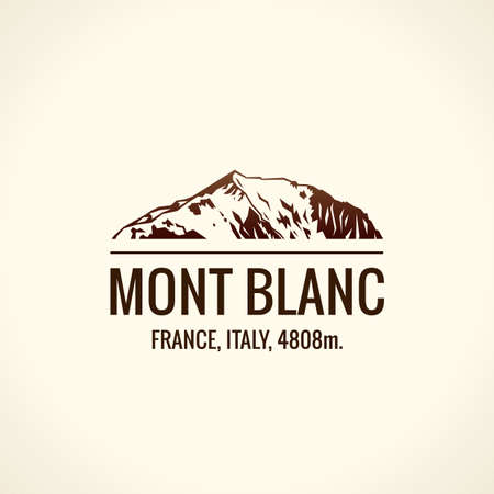 alps: Mountain tourist vector. Emblem Mount adventures. Icon mount. Highest mountains in world. Mont Blanc
