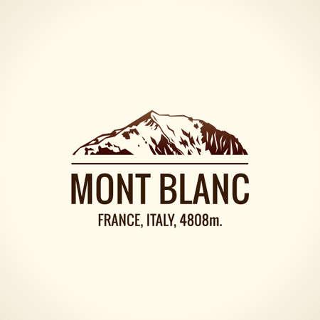 Mountain tourist vector. Emblem Mount adventures. Icon mount. Highest mountains in world. Mont Blanc