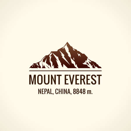 Mountain tourist vector. Emblem Mount adventures. Icon mount. Highest mountains in world. Everest