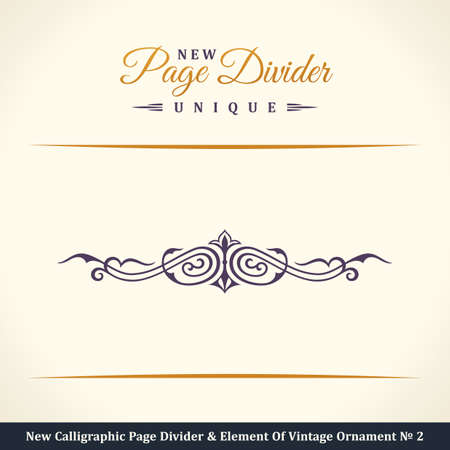 royal logo: New Calligraphic Page Divider and Element of vintage ornament. Elements for retro logo and vector crest, decorative border line. Gold royal border book