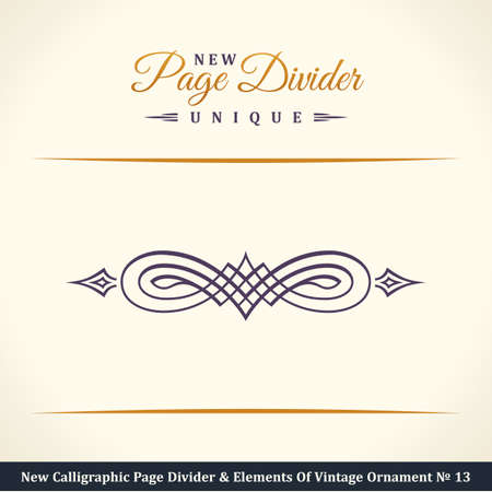 ornamental: New Calligraphic Page Divider and Element of vintage ornament. Elements for retro logo and vector crest, decorative border line. Gold royal border book