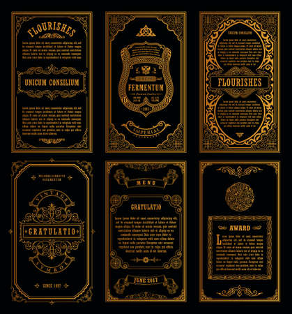 Les cartes rétro rétro rétro vintage ont été créées. Invitation de mariage de carte de voeux de modèle. Ligne de cadres calligraphiques. Gravure florale design des étiquettes publicitaire pour le texte. Flourishes frame background