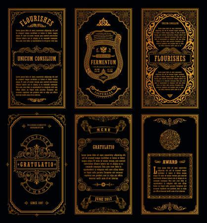 Vintage gouden vector retro kaarten. Sjabloon wenskaart bruiloft uitnodiging. Lijn kalligrafische frames. Bloemengravureontwerpetiketten die plaats voor tekst adverteren. Bloeit frame achtergrond