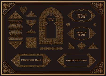 arabesque pattern: Arabic vector set of frames lines art design templates. Muslim gold outline elements and emblems