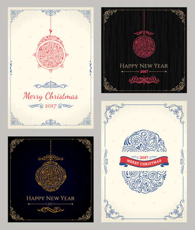 holiday greeting: Vertical Christmas holiday cards set. Winter greeting packaging for gifts