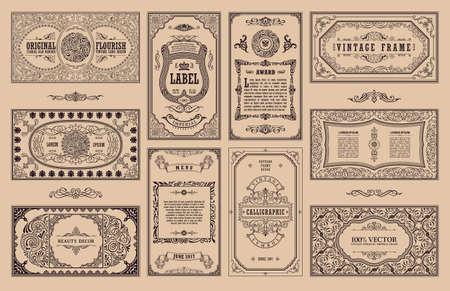 Vintage Set Retro-Karten. Schablonengrußkarte Hochzeitseinladung. Linie kalligraphischer Rahmen