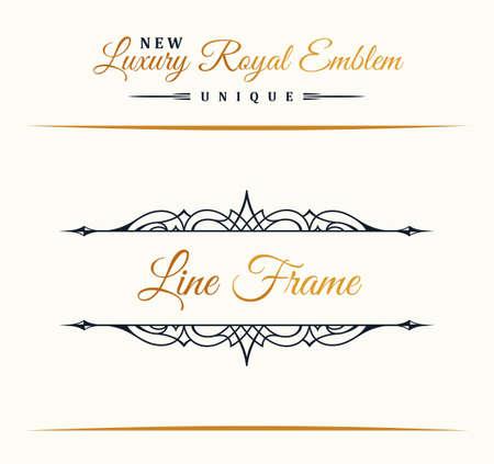calligraphic design: Calligraphic Luxury line logo. Flourishes elegant emblem monogram. Royal vintage divider design