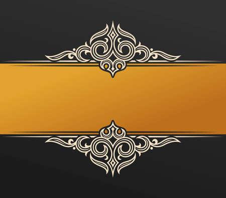 design frame: Banner islam ethnic design. Gold Invitation vintage label frame. Blank sticker emblem. Eastern black illustration for text. Luxury vignette for a gift, card, invitation, template logo