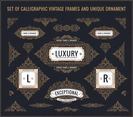 design elements: Vector Calligraphic Design elements. Vintage Flourishes Retro logo and frames set