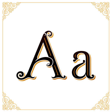Vector Vintage Font. Letter and monogram in the calligraphic style. Qualitative manual work Stok Fotoğraf