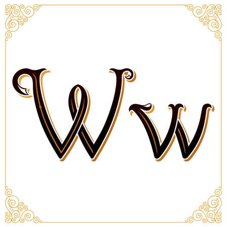 Vector Vintage Font. Letter and monogram in the calligraphic style. Qualitative manual work Stock Photo