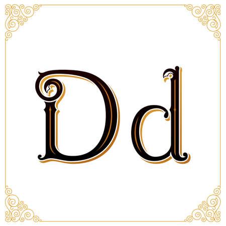 Vector vintage lettertype. Brief en monogram in de kalligrafische stijl. Kwalitatief handwerk Stockfoto