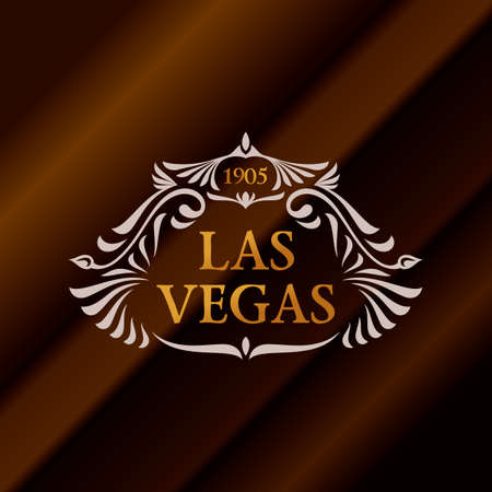 Vintage gold hipster label with lettering Las Vegas. Logo template for your sign, poster, clothing, badge