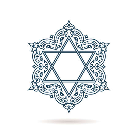 israeli: Star of David. Vector Jewish ornament. Blue icon on white background