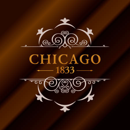Vintage gold hipster label with lettering Chicago. Logo template for your sign, poster, clothing, badge
