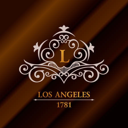 la: Vintage gold hipster label with lettering Los Angeles. Logo template for your sign, poster, clothing, badge