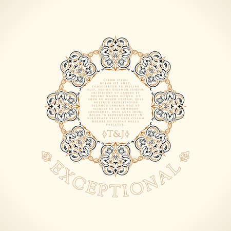 Restaurant calligraphic frame. Luxury line emblem. Round vintage greeting typographic design. Retro card and royal certificates. Vector Flourishes illustration Иллюстрация