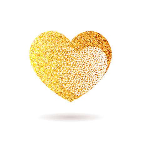 Gold vector glitter heart. Valentine day love design card poster postcard background
