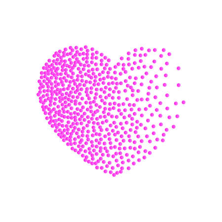 Vector heart pink dots. Small dots and confetti