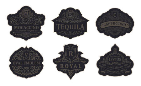 Vintage gold emblem set. Flourishes crest calligraphic ornament