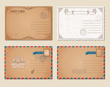 Vintage postcards, postage stamps, vector illustration post cards template. Set of mockup of template old retro illustrations.