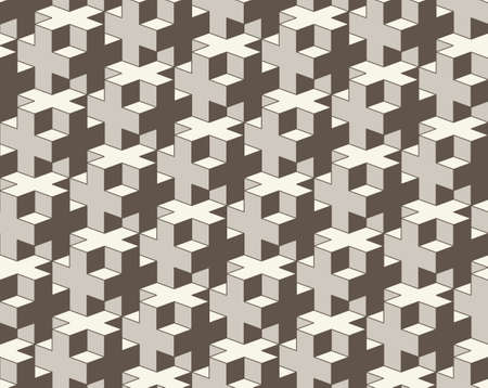 Vector seamless geometric pattern. 3D cross tiling Abstract Background. Repeating monochrome grid background. Modern tiles from Volume graphic abstract elements