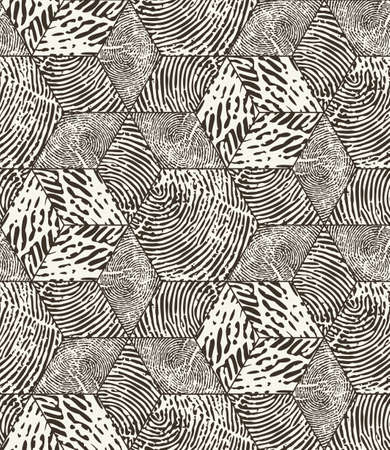 Vector seamless pattern. Repeating monochrome organic shapes background. Stylish structure of organic cells fingerprints. Modern tiles from striped abstract elements