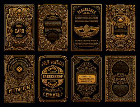 Vintage goldene Vektor-Set Retro-Karten. Vorlage Grußkarte Grenze Hochzeitseinladung. Kalligraphische Linienrahmen. Blumengravur-Design-Label-Werbeplatz für Text. Blühender verzierter Hintergrund Vektorgrafik