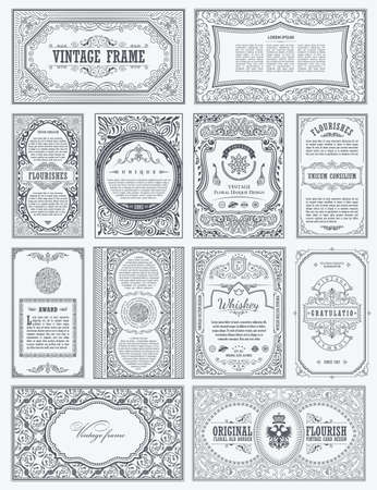 Vintage vector set retro cards. Template greeting card border or invitation. Black and white linear calligraphic frames. Floral design label advertising, place for text. Flourish ornate background Иллюстрация